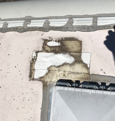 Skylight sealed with low quality waterproofing tape