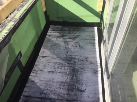 Reinforcing fabric adhered with urethane waterproofing