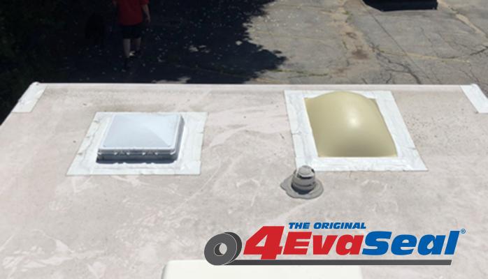 Skylights sealed with 4EvaSeal waterproofing tape