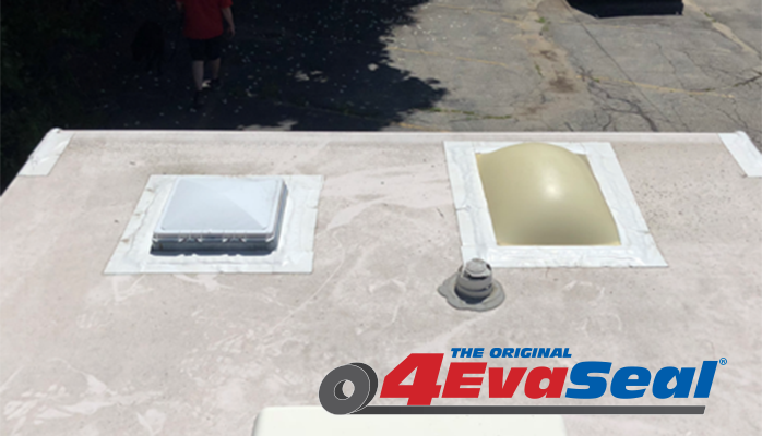 Skylights sealed with 4EvaSeal waterproofing tape