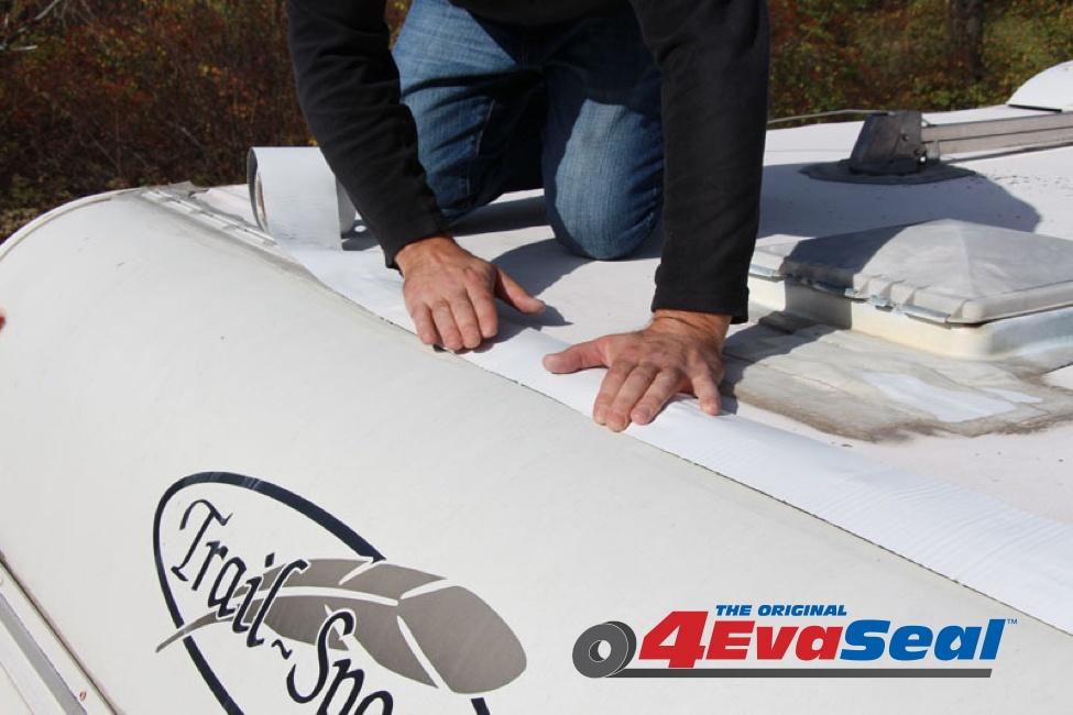 trailer's roof being fixed with 4EvaSeal Multipurpose Waterproofing Tape.jpg
